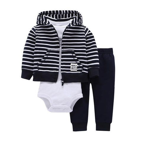 Ensemble 3 Pièces - Sweat à Capuche Rayé, Pantalon Bleu & Body Blanc Ensemble - Vêtements Enfant Bébé 9M - Parents Sereins