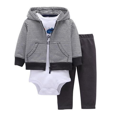 Ensemble 3 Pièces - Sweat à Capuche Rayé Pantalon Noir & Body Blanc Ensemble - Vêtements Enfant Bébé 9M - Parents Sereins