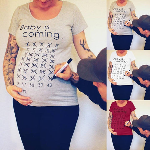 T-Shirt de Grossesse - Baby Is Coming T-Shirt de Grossesse Gris / S - Parents Sereins