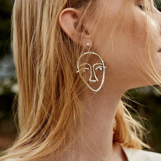 Abstract Hollow Face Earrings