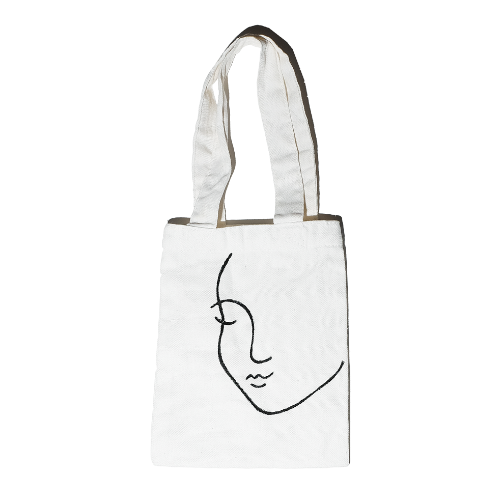 OIAM Line Art Hand-painted Canvas Tote Bag