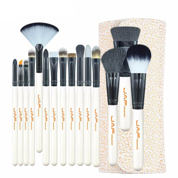 Modern White Super Soft Pro Brush Set With Leather Case