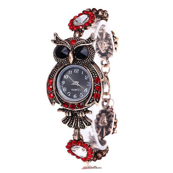 Detailed Rhinestone Owl Bracelet Watch