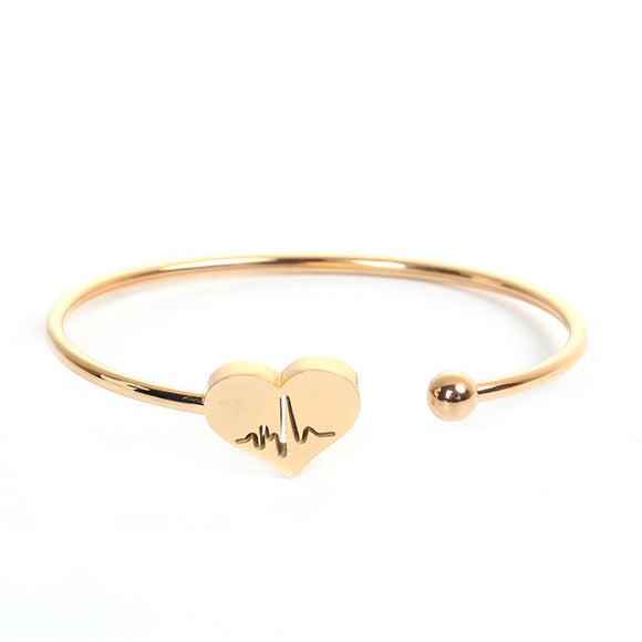Loving Heartbeat Bangle Bracelet