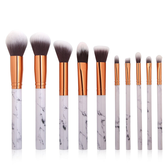 Gold Tipped Gorgeous Marble 10 Piece Pro Brush Set