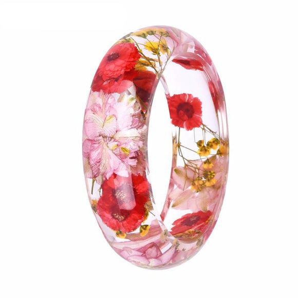 Gorgeous Dried Flower Resin Bangle Bracelet