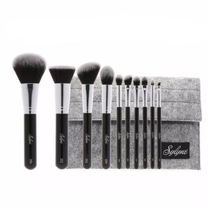 Sleek And Trendy 10 Piece Pro Brush Set With Bag