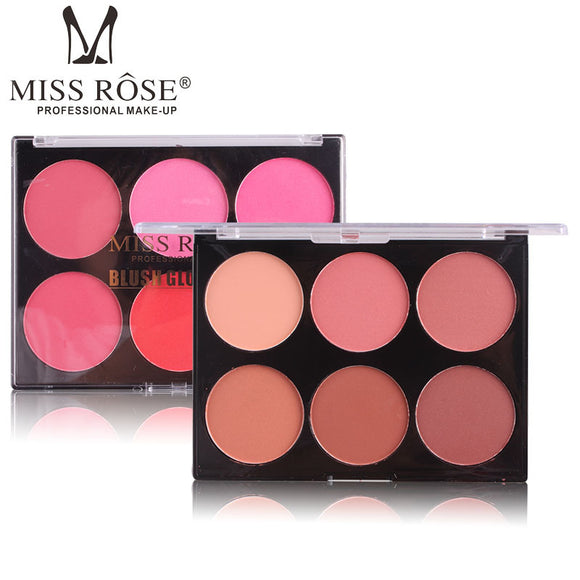 Miss Rose Good Pigmentation 6 Color Blusher Makeup Palette Glow Kit Blush Makeup for Women Cosmetic