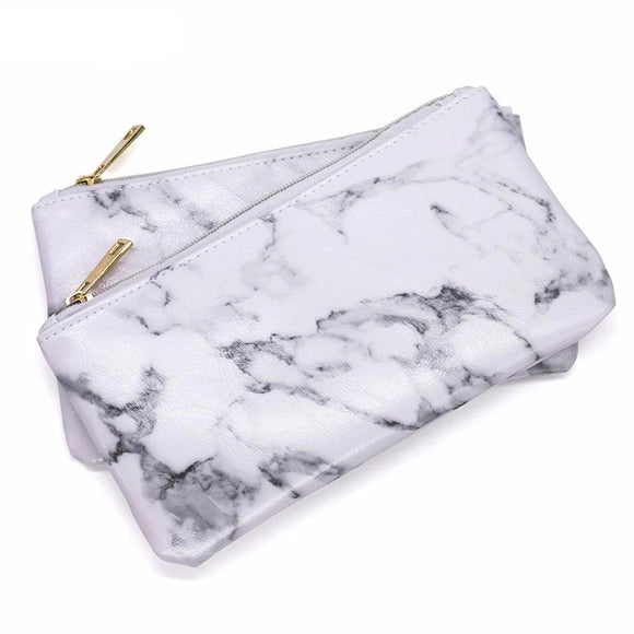 Gorgeous White Marble Makeup Bag