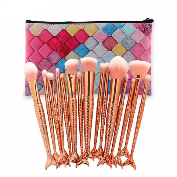 Rose Gold Mermaid Shaped Pro 15 Piece Brush Set With Bag
