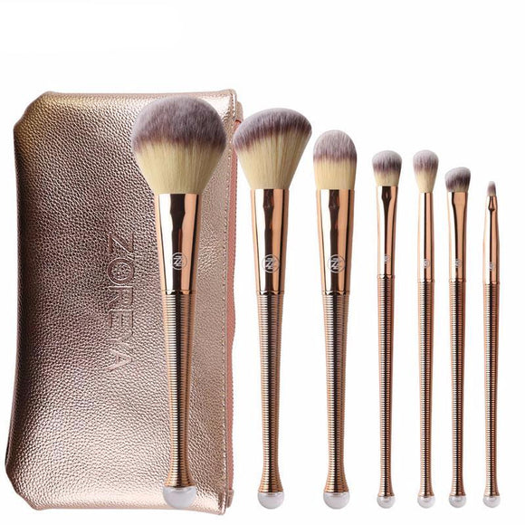 High-Class Gold Spiraled Mermaid 8 Piece Pro Brush Set