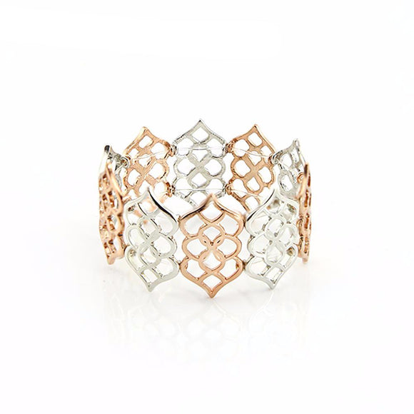 Trendy Hollow Elastic Metal Bracelet