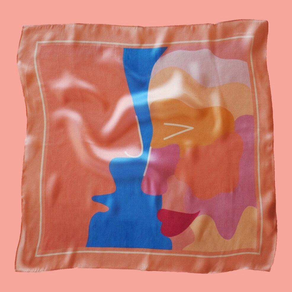 silk scarf  ' KISS ME , MAN '