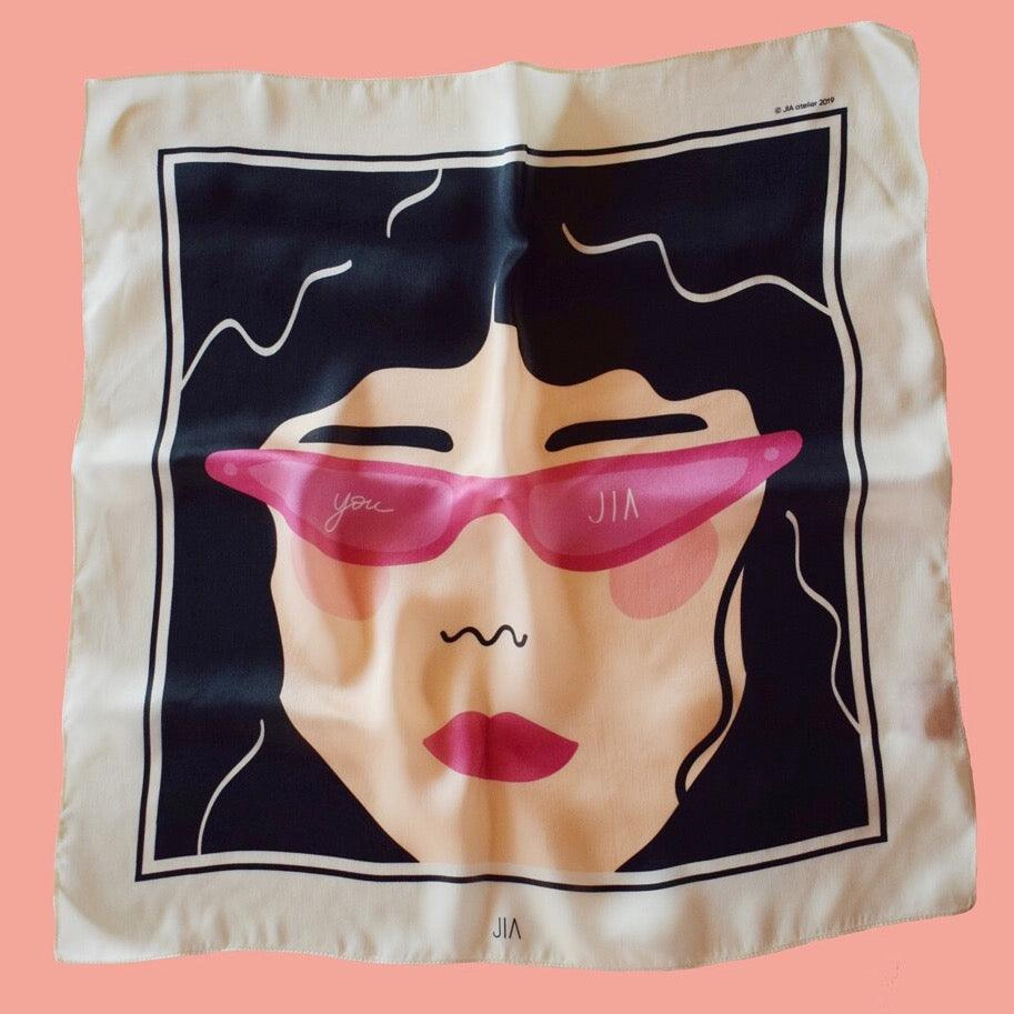 'LOVE IN THE GLASSES' SILK SCARF