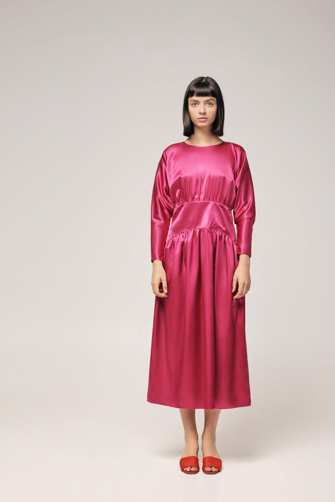 FUCHSIA SATIN DRESS