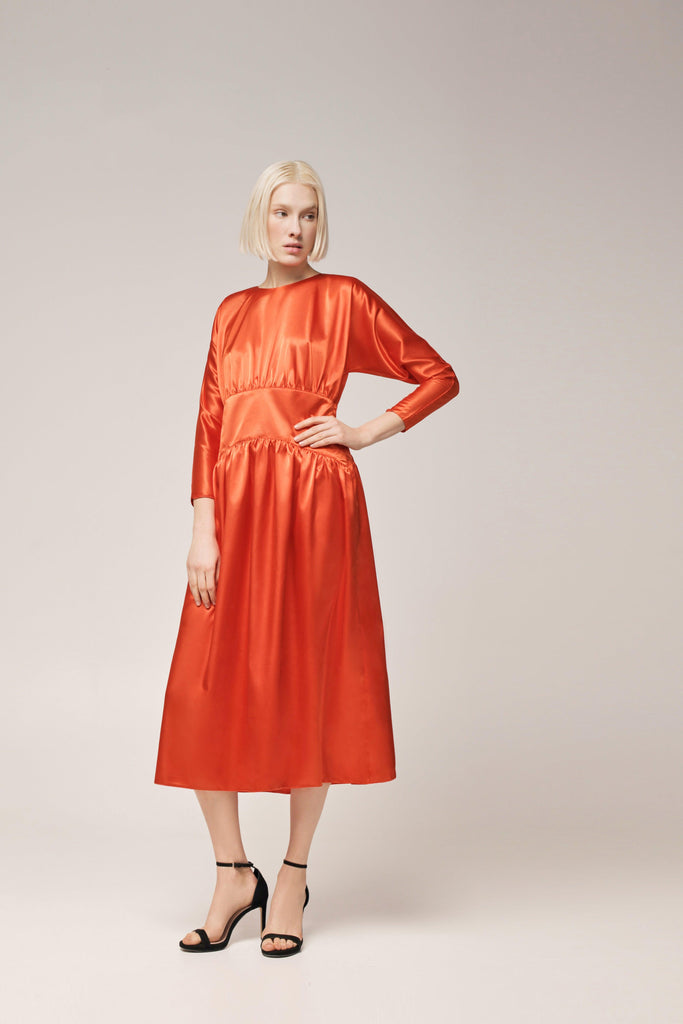 ORANGE satin DRESS