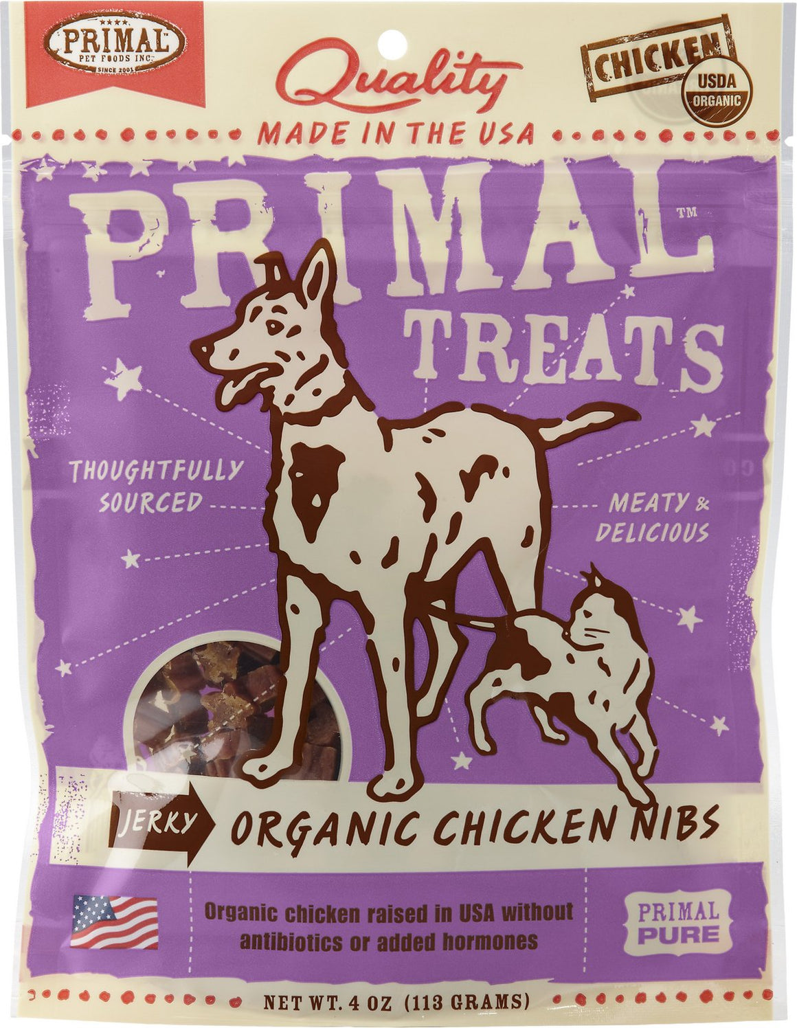 Primal Organic Chicken Nibs Jerky Grain-Free Dog and Cat Treats, 4oz.