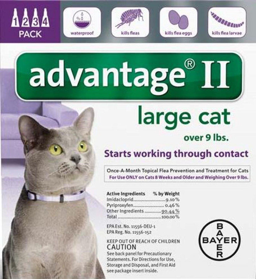 Bayer Advantage II Flea Treatment for Large Cats Over 9lbs-Le Pup Pet Supplies and Grooming