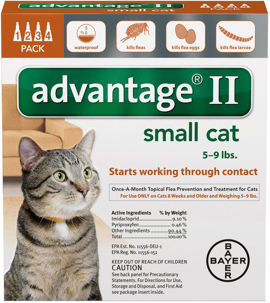 Bayer Advantage II Flea Treatment for Small Cats 5 to 9lbs-Le Pup Pet Supplies and Grooming
