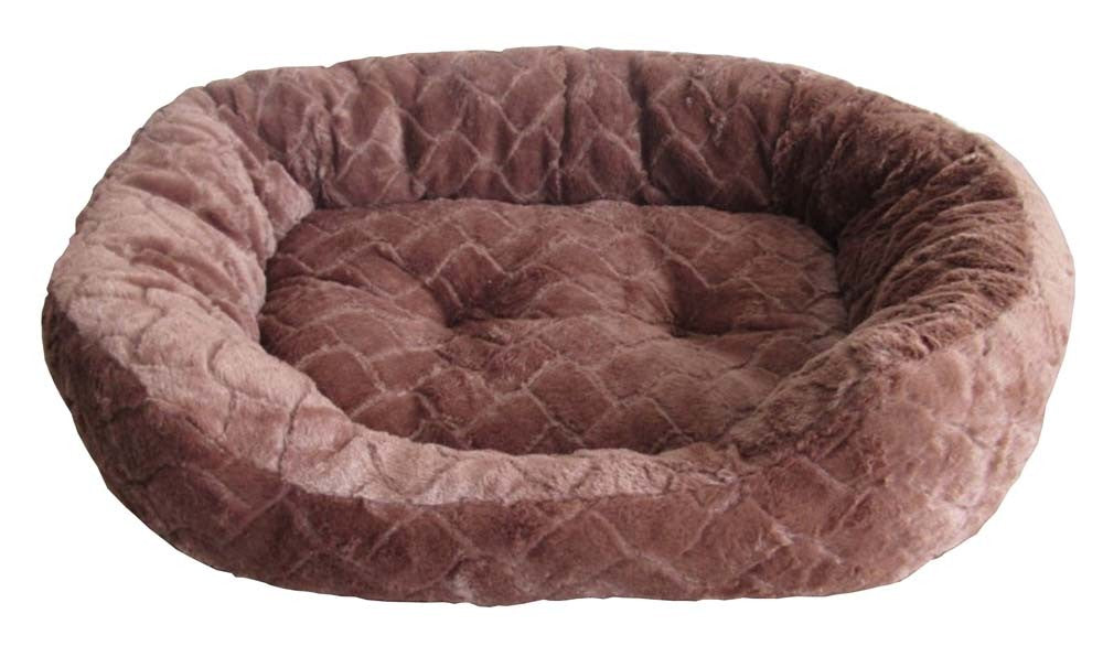 Sleep Zone Diamond Cut Plush Bed Chocolate Dog Supply-Le Pup Pet Supplies and Grooming