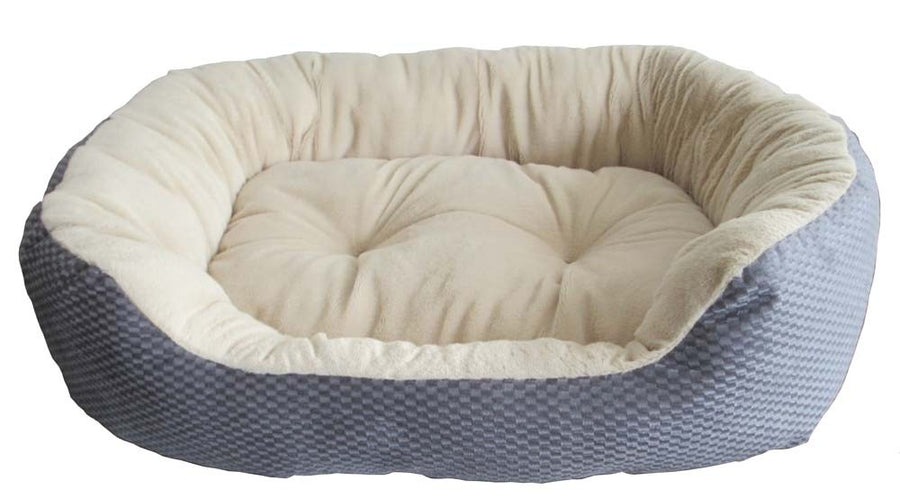 Sleep Zone Jute Plush Bed Blue/Grey Dog Supply-Le Pup Pet Supplies and Grooming