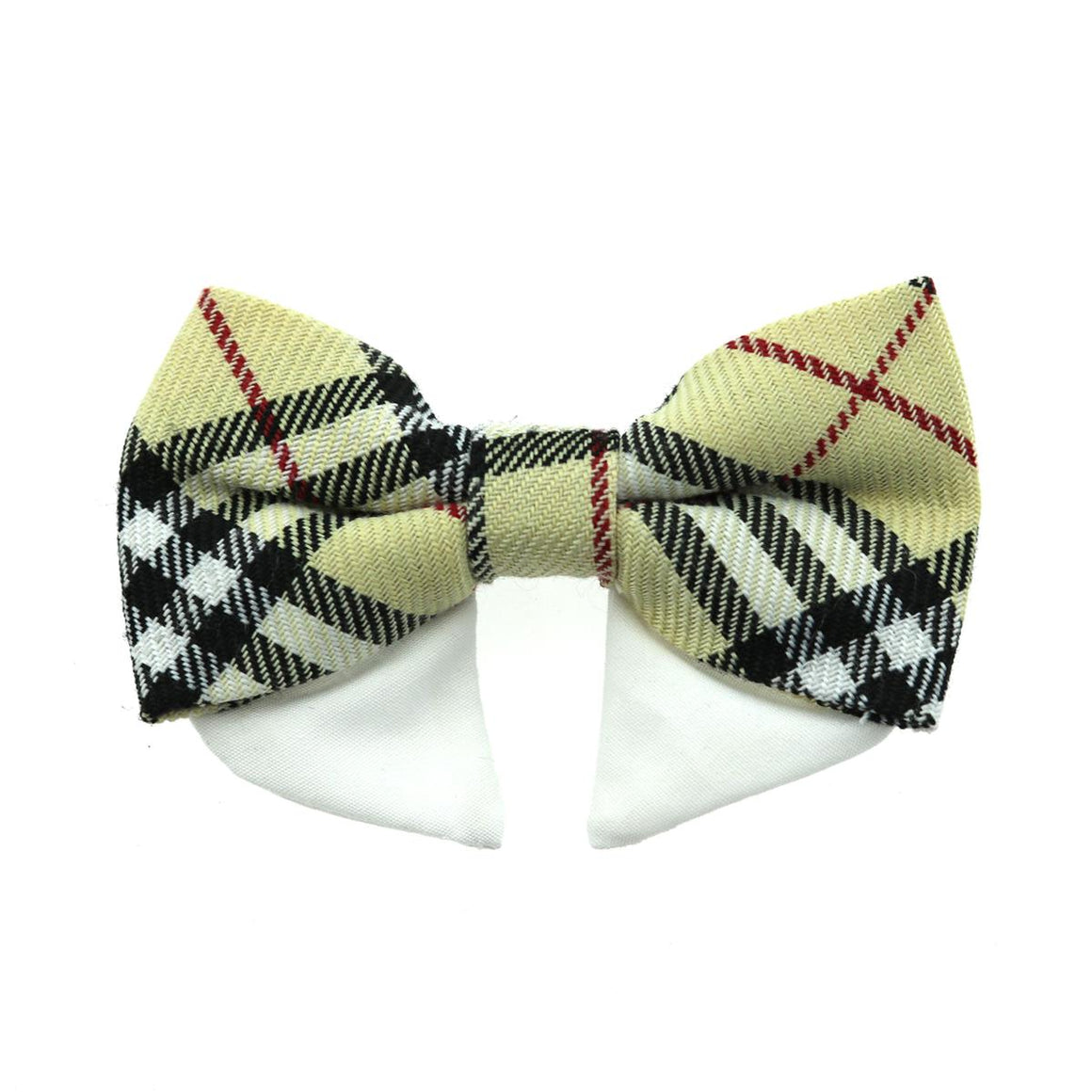 Doggie Design Universal Dog Bow Tie - Tan Plaid-Le Pup Pet Supplies and Grooming