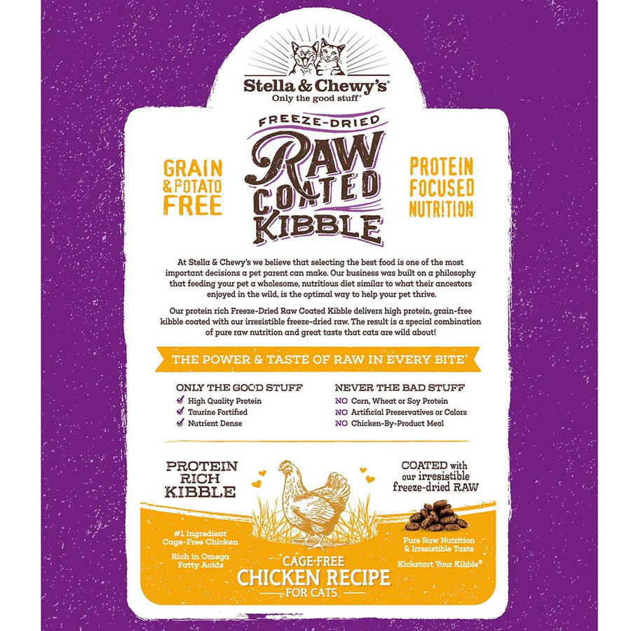 Stella & Chewy's Cage-Free Chicken Grain-Free Freeze-Dried Raw Coated Baked Kibble Cat Food