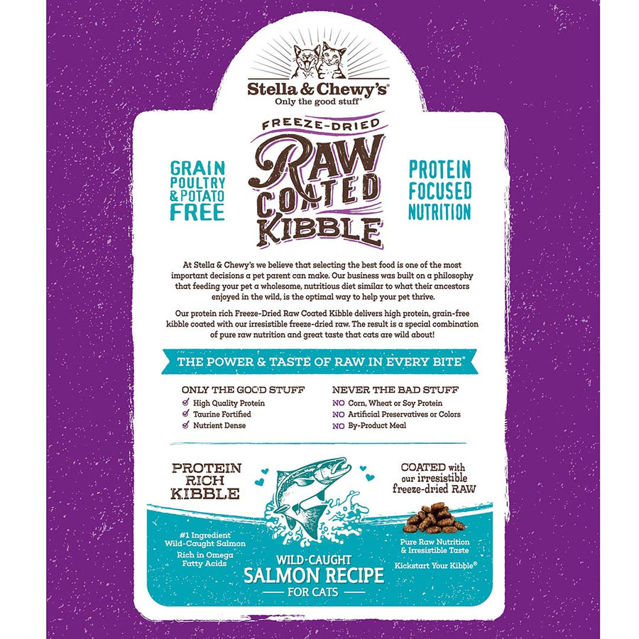 Stella & Chewy's Wild-Caught Salmon Grain-Free Freeze-Dried Raw Coated Baked Kibble Cat Food