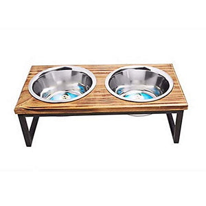 Indipets Contemporary Wooden Double Diner Dog Supply-Le Pup Pet Supplies and Grooming