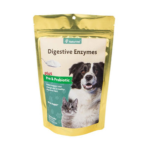 NaturVet Digestive Enzymes Powder with Pre & Probiotics Dog and Cat Supply