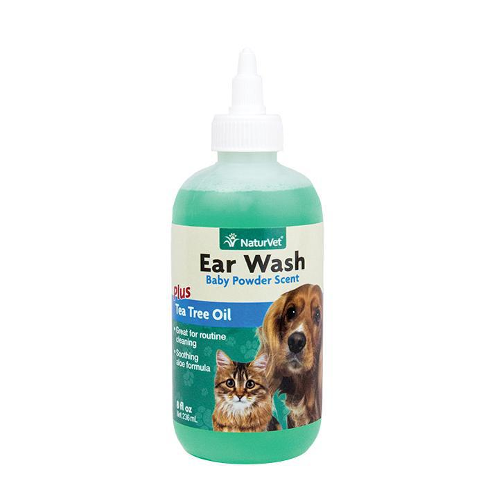 NaturVet Ear Wash Plus Tea Tree Oil (Aloe & Baby Powder scent) Dog and Cat Supply-Le Pup Pet Supplies and Grooming