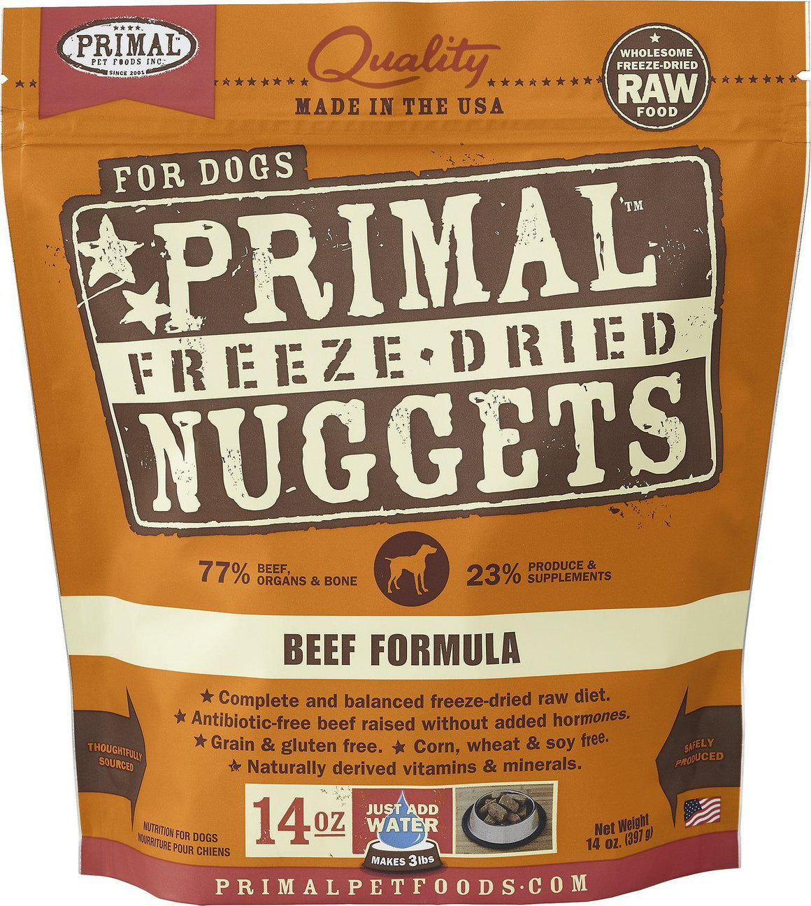 Primal Beef Formula Grain-Free Freeze-Dried Raw Nuggets Dog Food-Le Pup Pet Supplies and Grooming