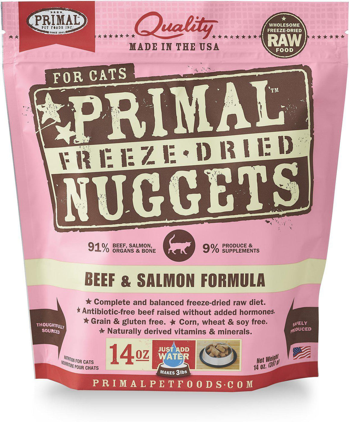 Primal Beef & Salmon Formula Grain-Free Freeze-Dried Nuggets Raw Cat Food-Le Pup Pet Supplies and Grooming
