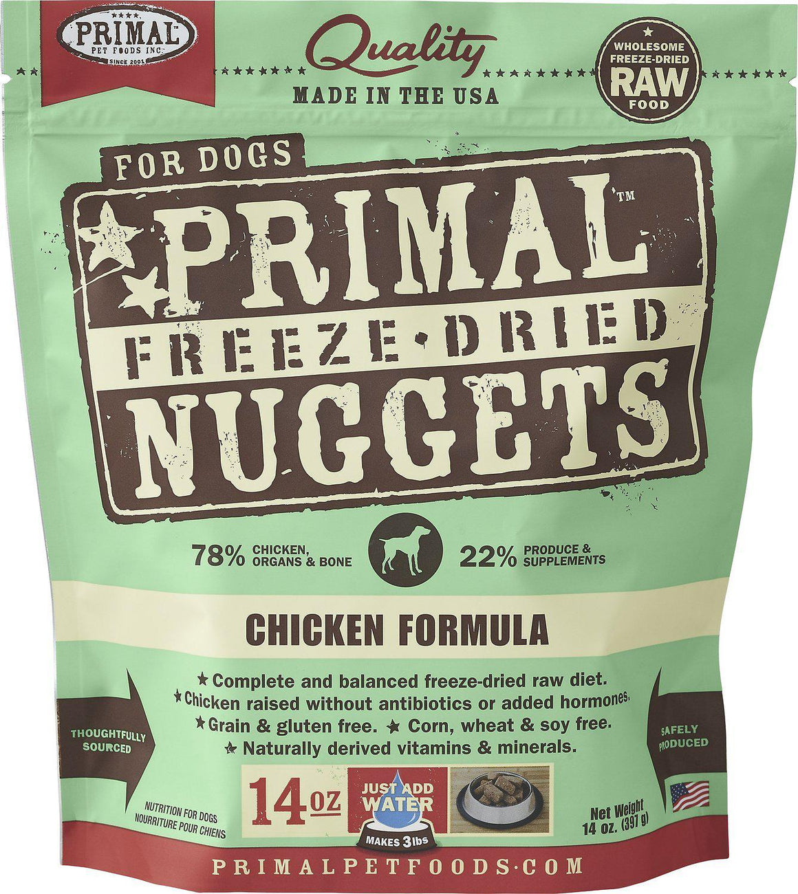 Primal Chicken Formula Grain-Free Freeze-Dried Raw Nuggets Dog Food-Le Pup Pet Supplies and Grooming