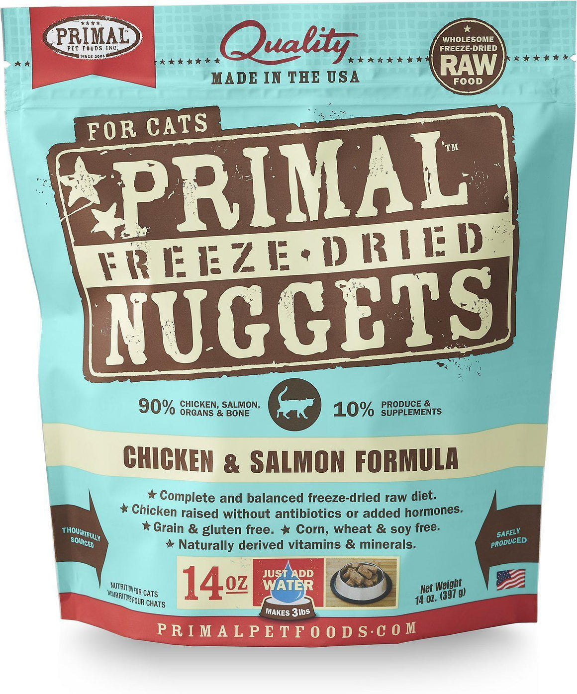 Primal Chicken & Salmon Formula Grain-Free Freeze-Dried Raw Nuggets Cat Food-Le Pup Pet Supplies and Grooming