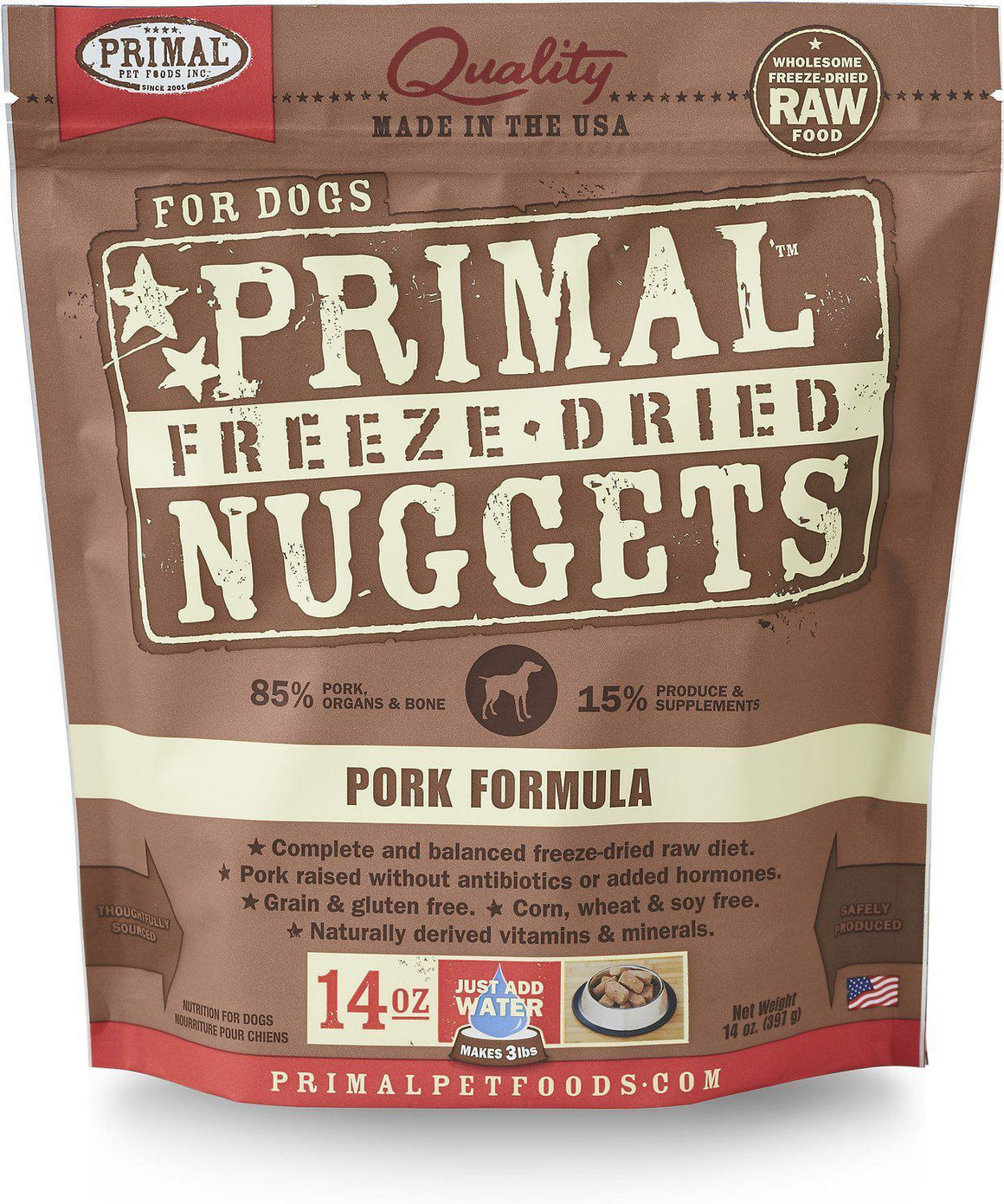 Primal Pork Formula Grain-Free Freeze-Dried Raw Nuggets Dog Food-Le Pup Pet Supplies and Grooming