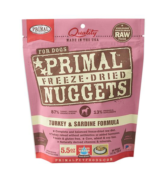 Primal Turkey & Sardine Formula Grain-Free Freeze-Dried Raw Nuggets Dog Food-Le Pup Pet Supplies and Grooming