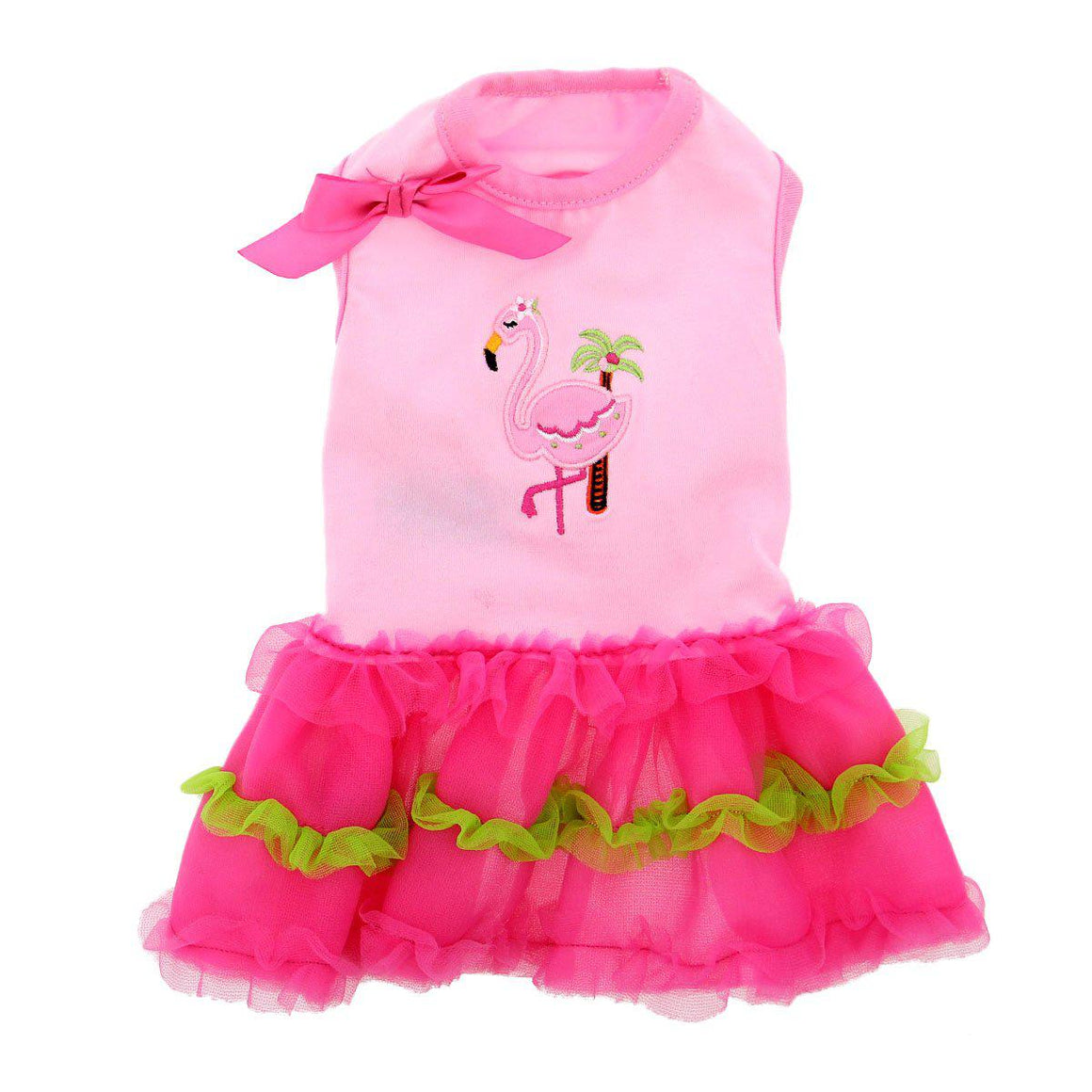 Doggie Design Flamingo and Palm Tank Designer Dog Dress-Le Pup Pet Supplies and Grooming