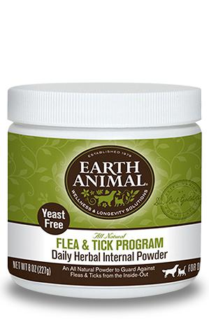 Earth Animal Flea & Tick Program Herbal (Yeast Free) Internal Powder for Dogs and Cats, 8oz.-Le Pup Pet Supplies and Grooming