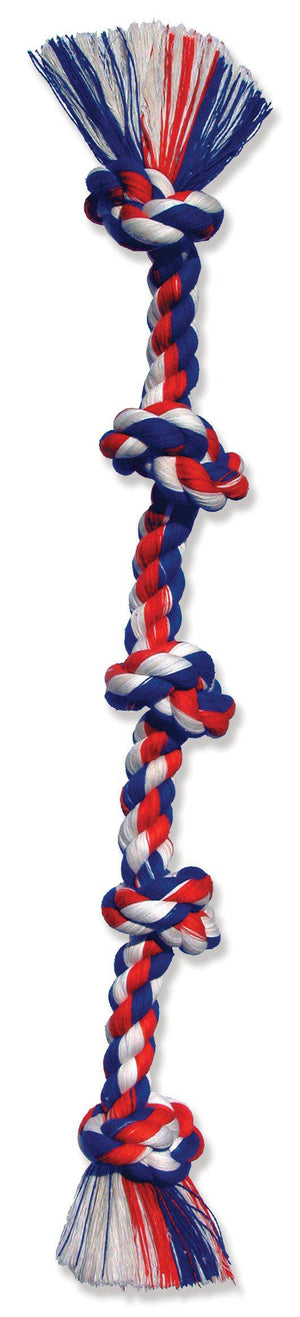 Mammoth Flossy Chews Color Tug Rope 5 Knots Dog Toy-Le Pup Pet Supplies and Grooming