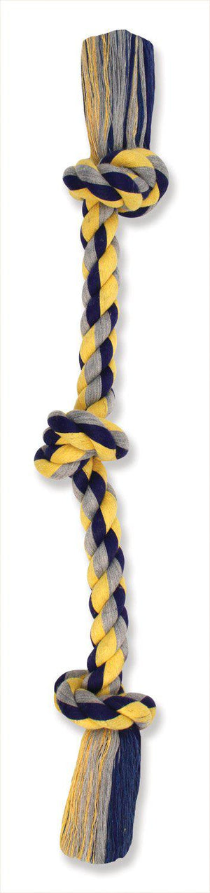 Mammoth Flossy Chews Color Tug Rope 3 Knots Dog Toy-Le Pup Pet Supplies and Grooming