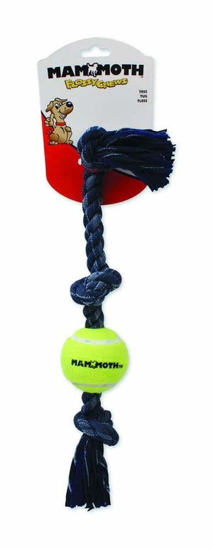 Mammoth Flossy Chews Denim Tug Rope Tennis Ball 3 Knots Dog Toy-Le Pup Pet Supplies and Grooming
