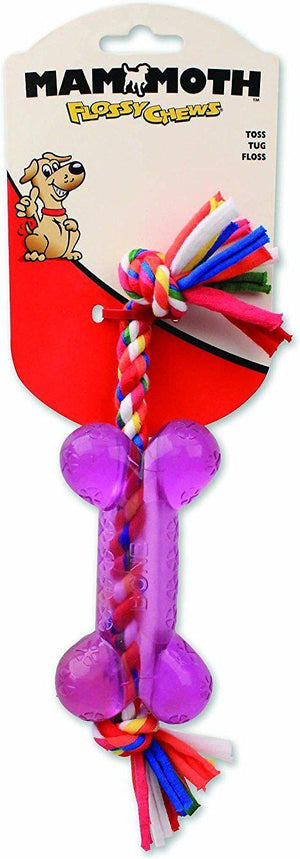 Mammoth Flossy Chews Cloth Rope Squeaky TPR Bone Dog Toy-Le Pup Pet Supplies and Grooming