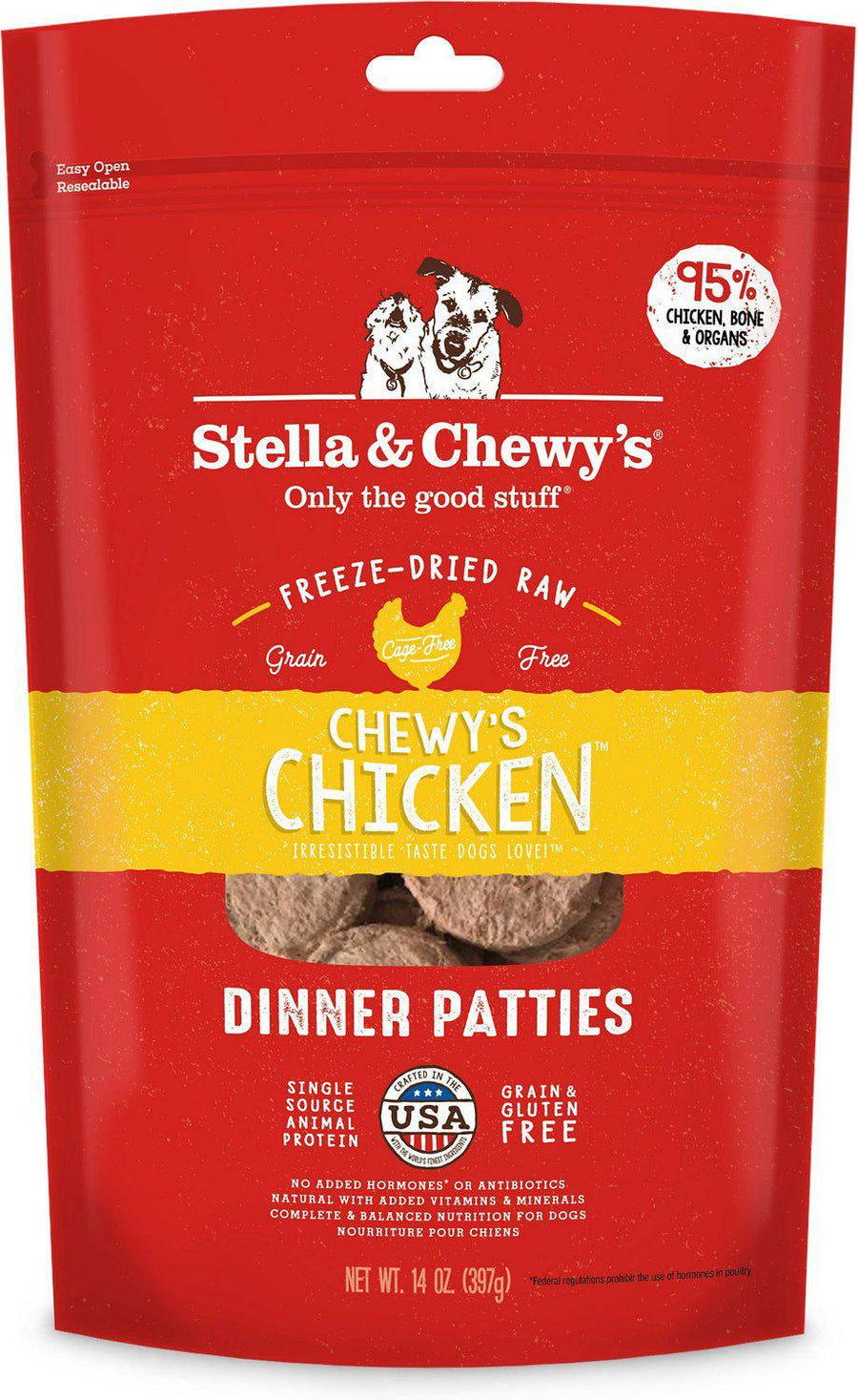 Stella & Chewy's Chewy's Chicken Grain-Free Freeze-Dried Raw Dinner Patties Dog Food-Le Pup Pet Supplies and Grooming
