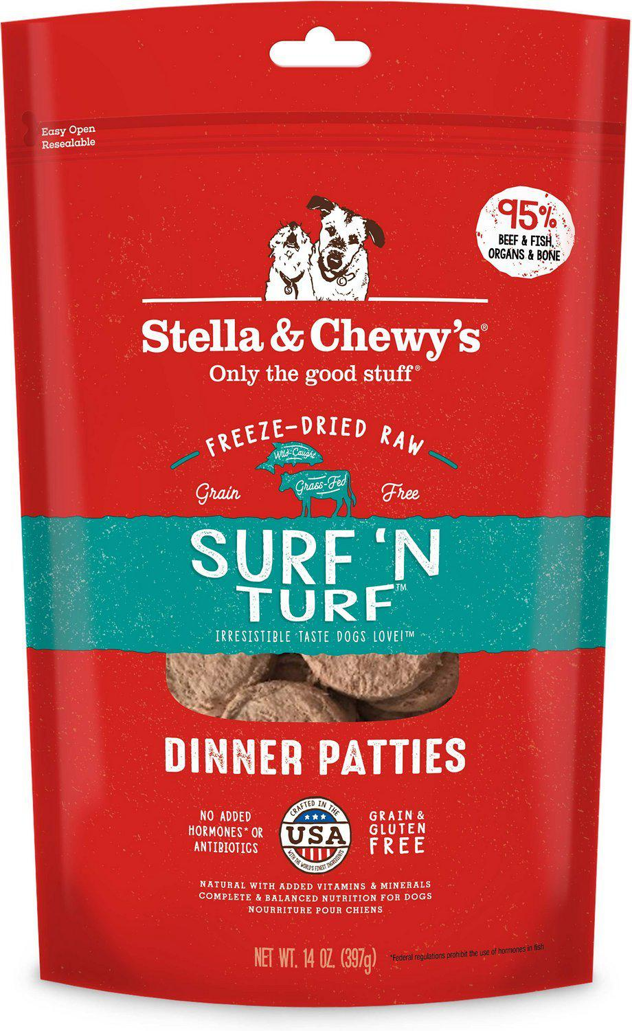 Stella & Chewy's Surf 'N Turf Grain-Free Freeze-Dried Raw Dinner Patties Dog Food-Le Pup Pet Supplies and Grooming