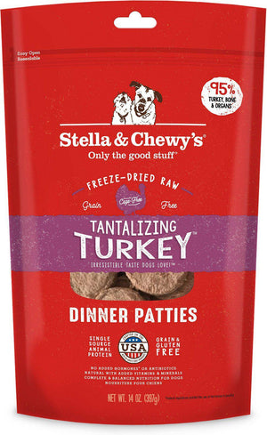 Stella & Chewy's Tantalizing Turkey Grain-Free Freeze-Dried Raw Dinner Patties Dog Food-Le Pup Pet Supplies and Grooming