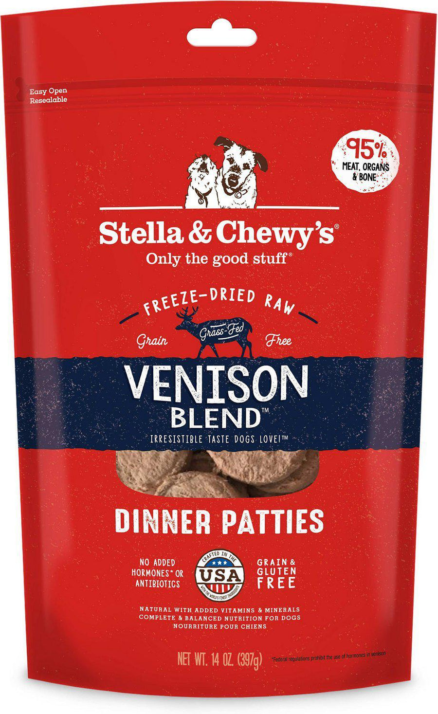 Stella & Chewy's Venison Blend Grain-Free Freeze-Dried Raw Dinner Patties Dog Food-Le Pup Pet Supplies and Grooming