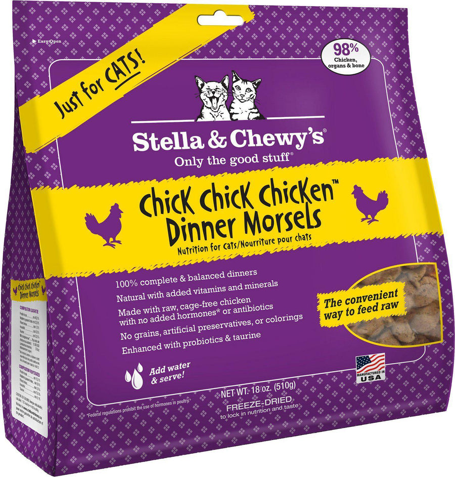 Stella & Chewy's Chick, Chick, Chicken Grain-Free Freeze-Dried Raw Dinner Morsels Cat Food-Le Pup Pet Supplies and Grooming