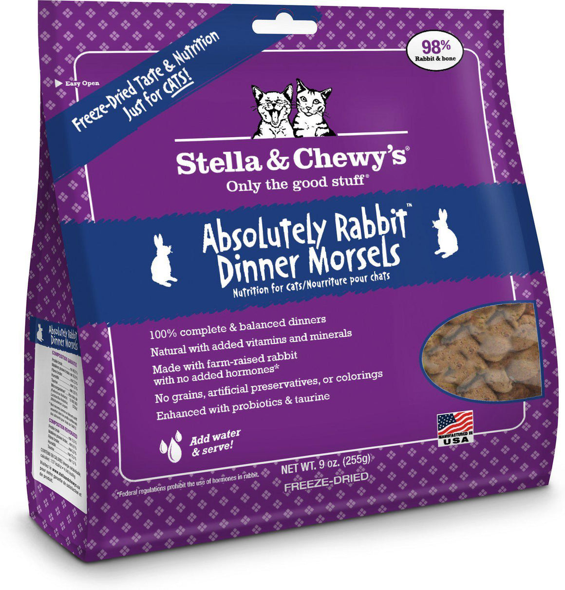 Stella & Chewy's Absolutely Rabbit Grain-Free Freeze-Dried Raw Dinner Morsels Cat Food-Le Pup Pet Supplies and Grooming