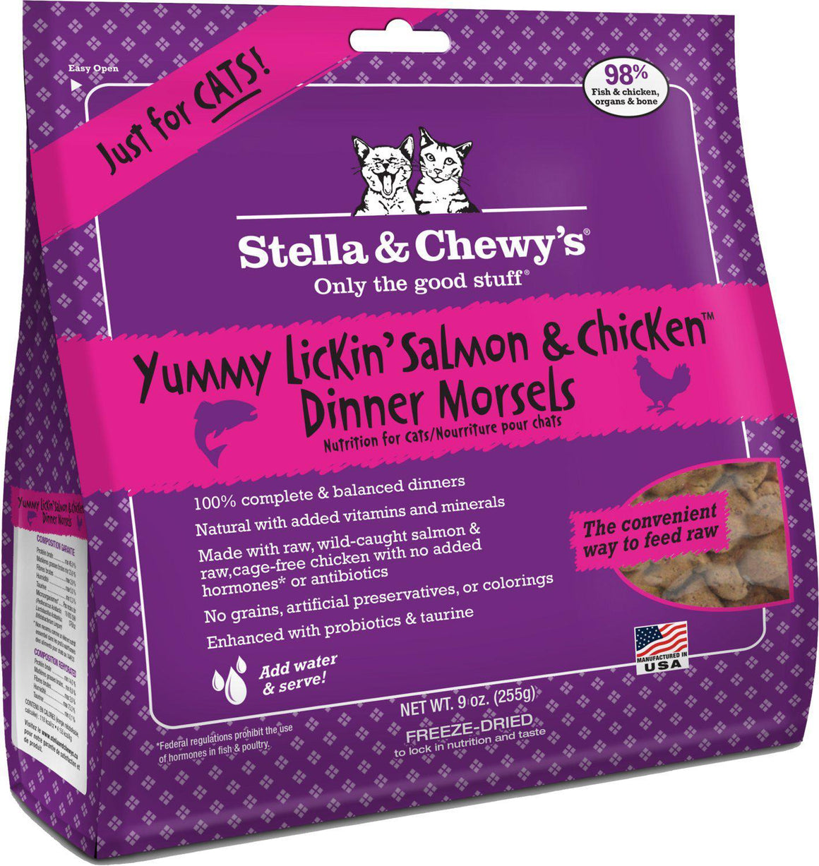 Stella & Chewy's Yummy Lickin' Salmon & Chicken Grain-Free Freeze-Dried Raw Dinner Morsels Cat Food-Le Pup Pet Supplies and Grooming